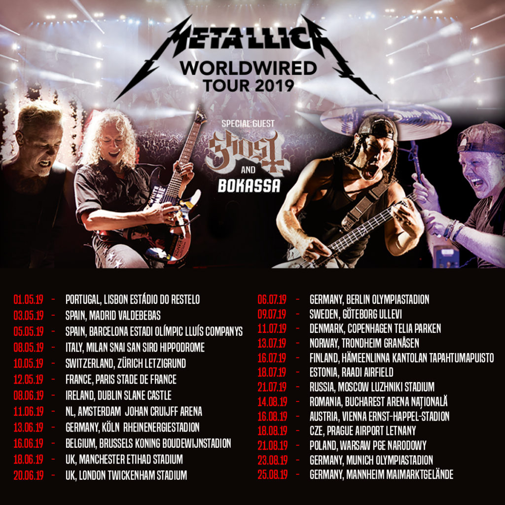 Metallica Worldwired tour with Ghost