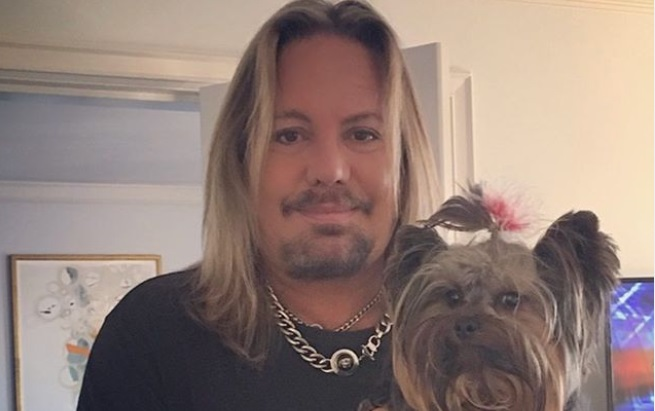 Vince Neil With His Dog