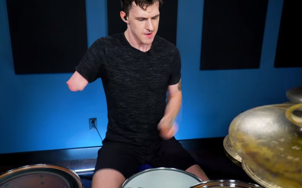 One-Armed Drummer Plays
